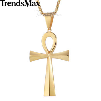 Trendsmax Stainless Steel Pendant Necklace Mens Womens Gold-color Egyptian Ankh Cross Of Life Egypt Symbol