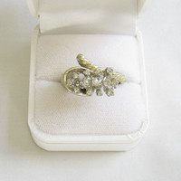 Vintage High Domed Clear Rhinestone CORNUCOPIA Ring