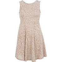 Beige Chelsea Girl animal print skater dress