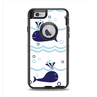 The Navy Blue Smiley Whales Apple iPhone 6 Otterbox Defender Case Skin Set
