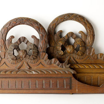 Antique Twin Bed Headboards - Vintage His and Hers Bed Head - French Carved Wood