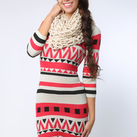Geo Pattern Knit Dress