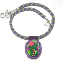 Beaded Floral necklace and pendant