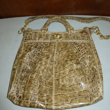 Brahmin Green Boulevard Collection Crackled Distressed Croc Leather Large Shoulder Bag Tote