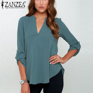 New Women's V Neck Solid Chiffon Blouse, Long Sleeve