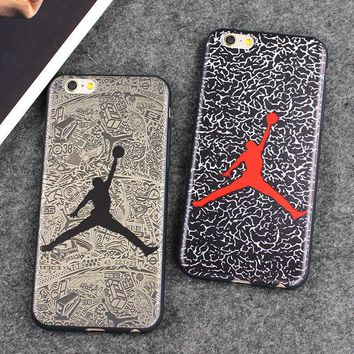 Fashion Brand Case Jordan Dunk Fly Air Man Leather Case For iPhone 7 7 Plus 6 6S 6 P