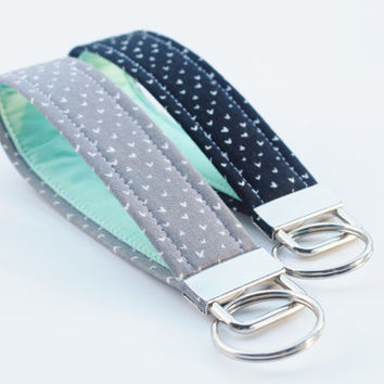 Wristlet Keychain, Confetti Hearts - Black or Grey with Mint Lining - Your choice