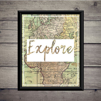 Explore - World Map - Travel Print - Instant Download - Digital Art - Digital Printable - Classroom Art - Desk Art - Dorm Art - Vintage