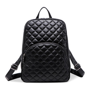 "Black Quilted High Fashion Faux Leather Backpack- Designer Inspired,  12.6"" x 10"" x 4"""