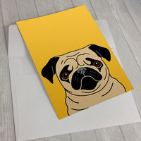 Pug Greeting Card - Fawn Pug Greeting Card - Card for pug lovers - dog lover card - notecard for dog lovers - Pug lover greeting card