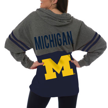 Michigan Wolverines Women's Pom Pom Jersey Oversized Fit Long Sleeve Hooded T-Shirt - Navy
