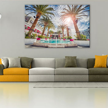 Las Vegas Pool in Summer LARGE Canvas 3 Panels Print City Art Wall Deco Fine Art Photography Repro Print for Home and Office Wall Decoration