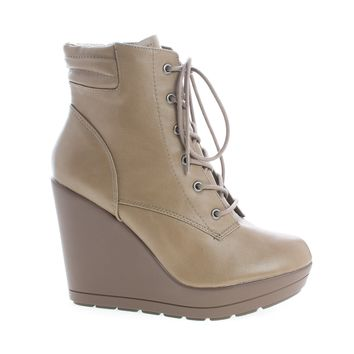 Claudia12 Beige Pu By Breckelle's, Round Toe Lace Up Platform High Wedge Heel Ankle Booties