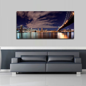 "Canvas Print Artwork Stretched Gallery Wrapped Wall Art Painting Brooklyn Bridge New York City Town Night Large Size 20x43"" (can12)"