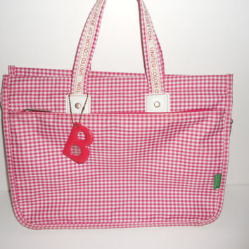 Vintage 80s United Colors of Benetton Plaid Red White Tote Purse Designer Letter B Summer Bag Kawaii Cute