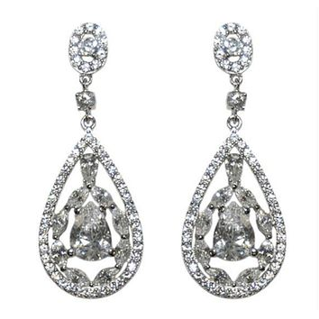 Tamara Art Deco Cluster Dangle Earrings | 6ct | Cubic Zirconia | Silver