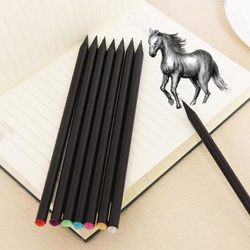 5Pcs/Lot High Quality Crystal Beautiful Sketch Drawing Pencils Black Color Standard Pencil HB Shining Pencil For Office Gift
