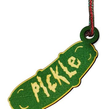 Pickle Cartoon Parody Laser Engraved Wooden Rear View Mirror Charm Dangler Ornament Gift Seasonal Decoration