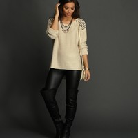Sale-natural Studded Shoulder Sweater