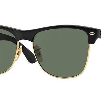 Ray-Ban RB4175 877 Clubmaster Oversized Black Frame Green 57mm Lens Sunglasses