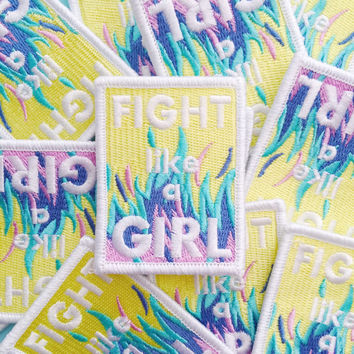 Fight Like A Girl Iron On Patch - Feminist Patch - Embroidered Patch - Feminist Accessories