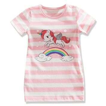 Kids Summer Unicorn Party Dress For Girls Summer Embroidery Flower Frocks Baby Girl Princess Dresses Little Kids Clothes 6 7 8 T