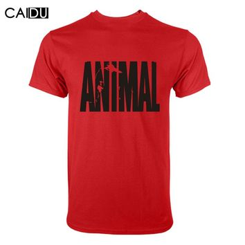 fitness cotton clothes for men Animal print tracksuit t shirt muscle bodybuilding