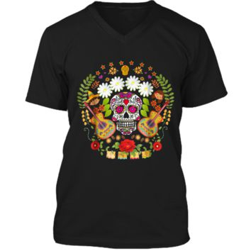 Day Of The Dead Tee  Mariachi Guitar Skull  Mens Printed V-Neck T