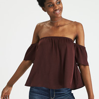 AEO Silky Off-the-Shoulder Top, Burgundy