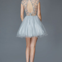 G2044 Sparkling Cap Sleeve Homecoming Cocktail Dress