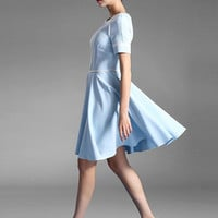 Light Blue Flare Ruffles Knee-Length Slim Fit Party Dress
