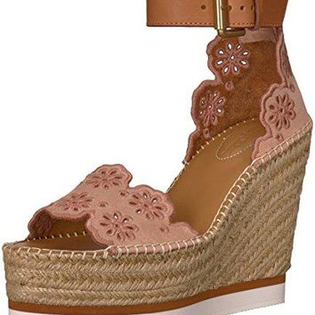 MY MALL METRO See By Chloe Women's Glyn Floral Espadrille Wedge Sandal, Light/Pastel Pink, 38 M EU (8 US)
