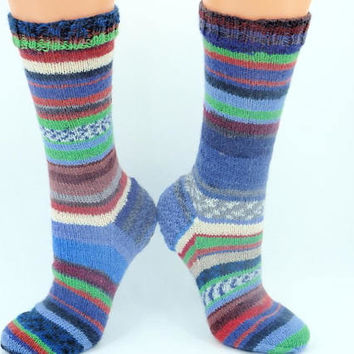 handknit wool striped socks for women mismatched odd hippie socks