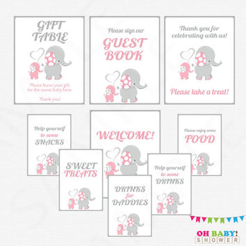 Pink and Gray Elephant Baby Shower Table Signs, 9 Girl Baby Shower Signs, Printable Signs Welcome, Guest Book, Drinks for Daddies EL0005-lp