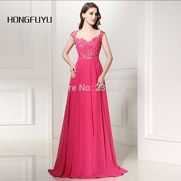 HONGFUYU Real Photo Scoop A Line Chiffon Lace Beaded Sheer Rose Red Long Evening Dresses 2016 Robe De Soiree Backless Vestidos