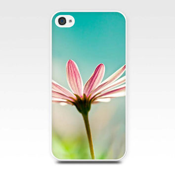 iphone case 4 4s 5 pink floral daisy photo art case photography fine art iphone 4 4s 5 flower nature botanical pink teal blue pastel case