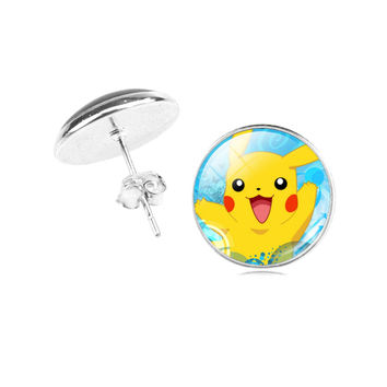 Pokemon Silver Plated Jewelry with Glass Cabochon Pikachu Pokemon with Pokeball Pattern Stud Earring for Women Party