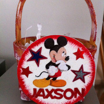 Mickey Mouse Basket, Gift Card Holder or party favor for Valentine's Day, Easter, Birthday