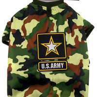 US Army T Shirt For Dogs Green Camo Choice XS Small Medium Large Lightweight