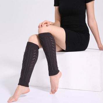 New Women Winter Warm Leg Warmers Cable Knit Knitted Crochet Long Stockings Women Slim Sexy elastic Stockings For Girls Ladies