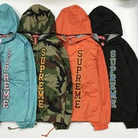 Supreme Vertical Logo Hooded Coaches Jacket