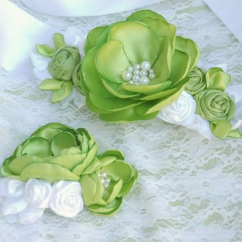 Apple green bridal corsage, sash, belt, wedding flower sash, wedding sash, bridal gown sash, flower belt, flower sash belt, dress sash