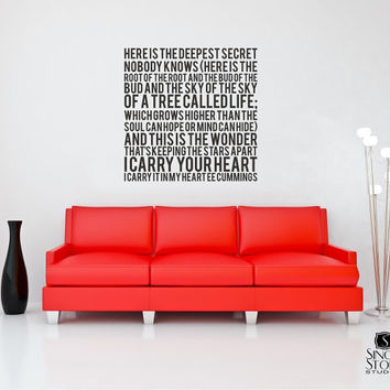 Wall Decal Quote Text ee cummings I Carry by singlestonestudios