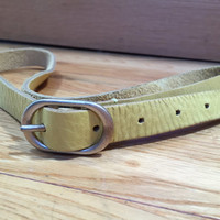 Yellow Leather Belt, Vintage Belt, Thin Leather Belt, Vintage Leather, Light Yellow Belt, Soft Leather Belt, M L 31