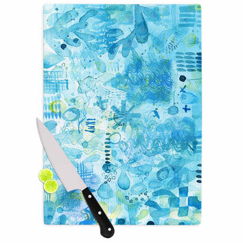 """Nic Squirrell """"Floating"""" Multicolor Watercolor Cutting Board"""