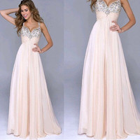 Ready To Ship Long Prom Dresses 2015 With Crystal Spaghetti Straps Womans Occasion Dress Chiffon Evening Gowns