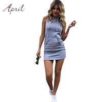S-XL 2016 Bodycon Women Pullover Sweatshirt Cotton Short Dress Hooded Slim Sport Dress With Pockets Sexy Mini Summer Sundress
