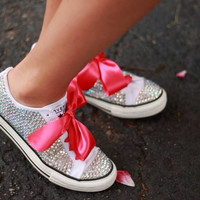 Bedazzled Converses - clear rhinestones