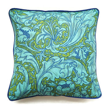 Sanderson William Morris Bachelors Button, Arts and Crafts blue, turquoise and olive green 70s linen cushion, throw pillow, home decor.