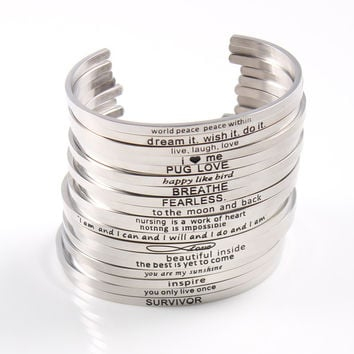 Silver Custom Stainless Steel Engraved Message Bracelet Personalized Positive Inspirational Letter Bracelet & Bangle For Women